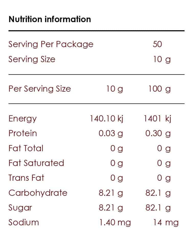 Pure Origins Premium Australian Organic Honey - Nutrition Information