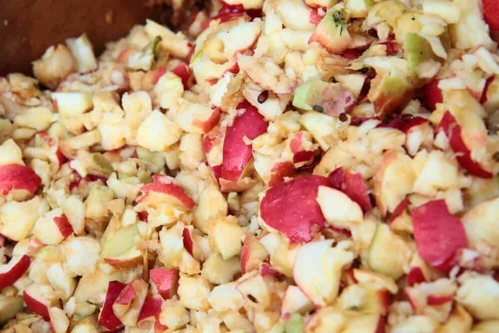 Crushed apples for apple cider vinegar