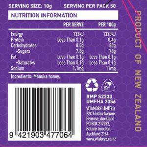 Vitabeez Manuka Honey UMF 15 - Label