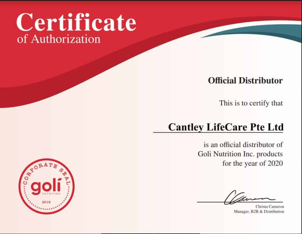 Goli Certificate Official Distributor Singapore